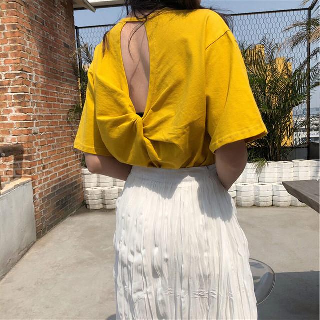 背中開きツイスト半袖Tシャツ(L21042-062)