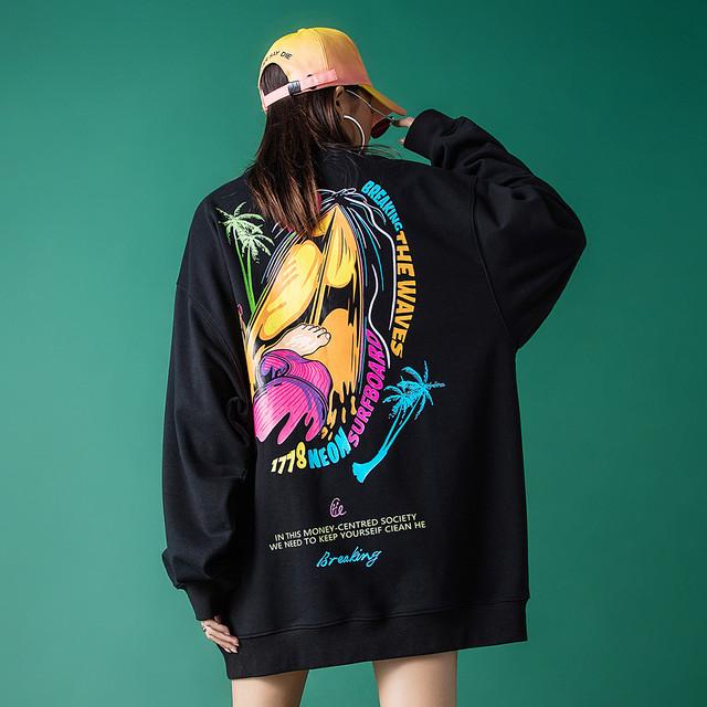 【トップス】ファッションストリート系男女兼用プリント図柄長袖裏起毛パーカー37765840