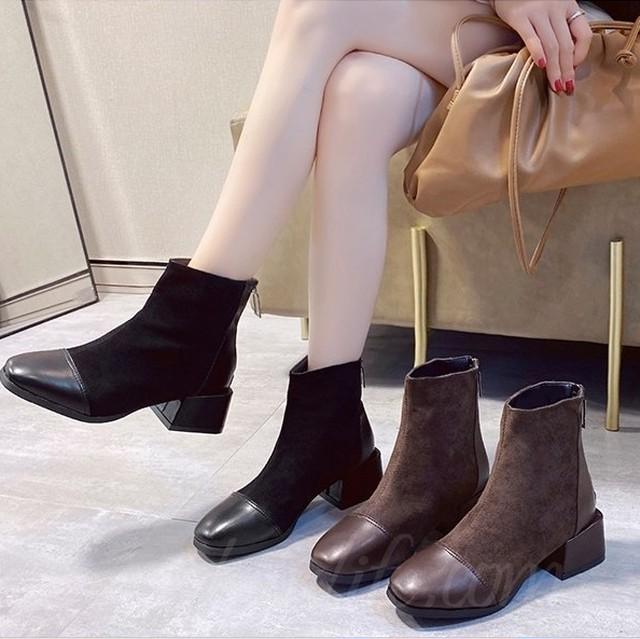 【シューズ】レトロブロックヒール切り替え暖かい丸トゥショート丈ブーツ37681880