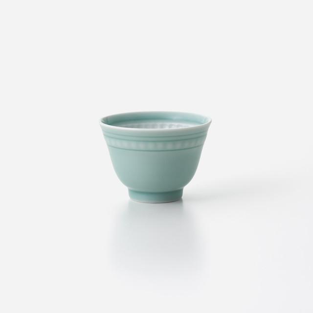 青磁印花 煎茶碗