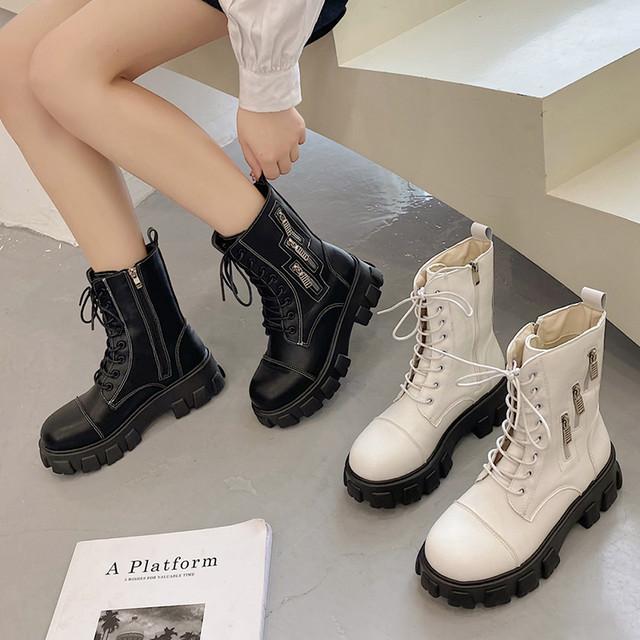 【シューズ】ファッション丸トゥ厚底ショート丈ブーツ49564843