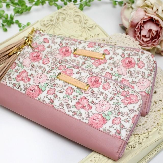 華やかで可愛いピンクのバラの花柄リバティプリント【Felicite】を使った長財布