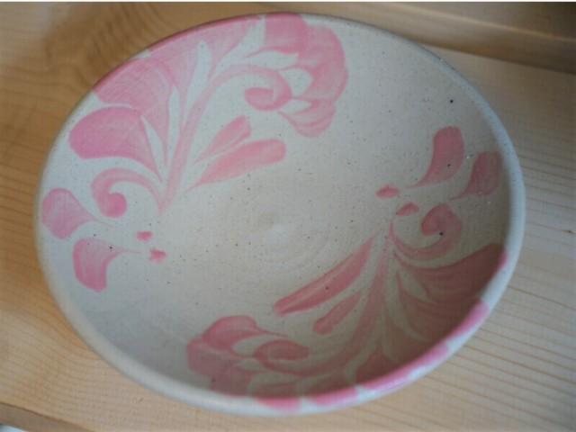 4寸皿 線彫り唐草A(真ん中空き)【青陶舎】
