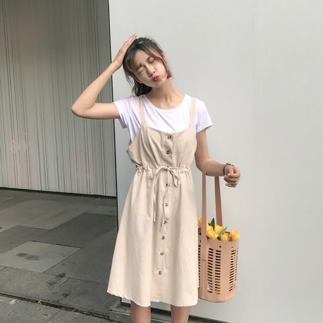 【set】無地シンプル半袖Tシャツ+ウエスト絞りサロペットワンピースセット