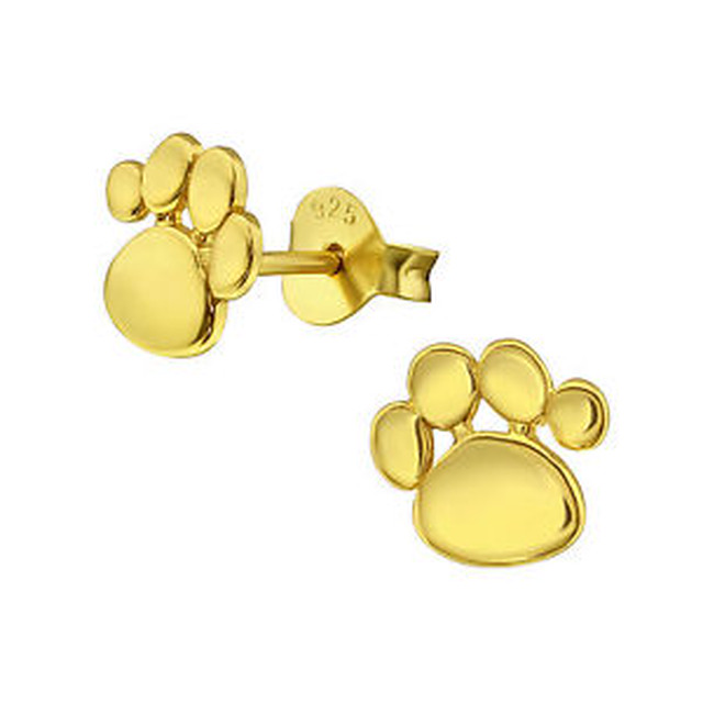 【送料無料】スターリングシルバープリントゴールドスタッドイヤリングsterling silver 925 dog  cat paw print gold stud earrings