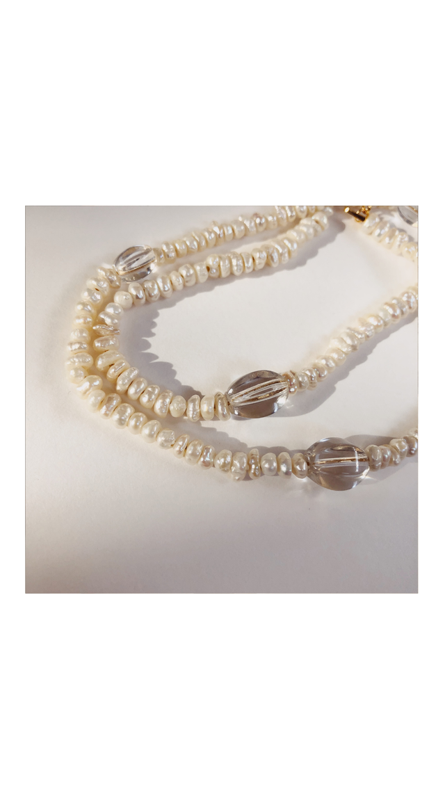 Baby Pearl × Clear Necklace