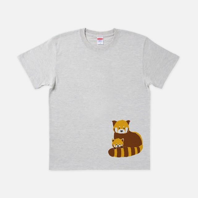 Tシャツ[URAMABUTA]レッサーパンダ はじっこ オートミール色
