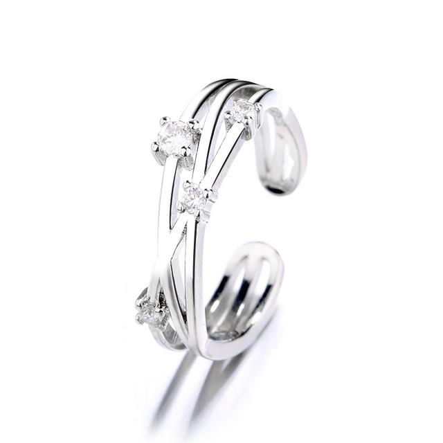 リング 指輪 フリーサイズ ジルコン かわいい ガーリー メッキ ブロンズ 銅 アクセサリー / Open heart irregular wave line ring (DTC-a599740187262)