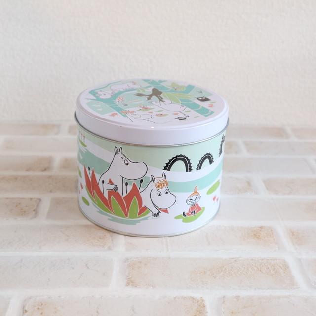 【ムーミン・北欧】ラウンド缶 ムーミン水の上