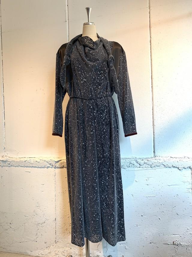 PONTI FLOCK PRINT SCARF DRESS