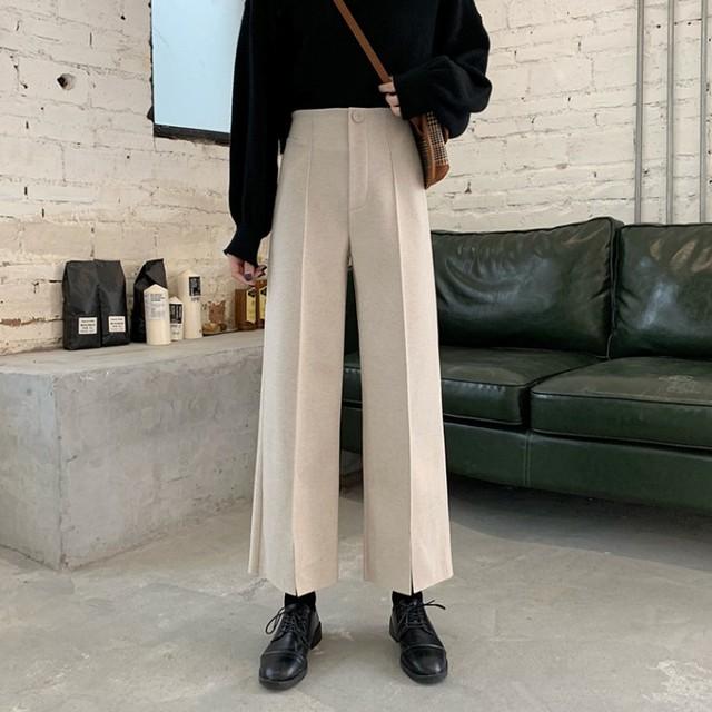 【ボトムス】ファッション無地カジュアルハイウエストストレートガウチョパンツ24836091
