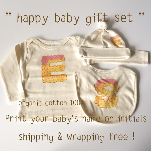 happy baby gift set ( ビスケットアルファベット*イチゴ )- ベビーTシャツ1枚 / キャップ 1枚 / スタイ 1枚【受注生産】