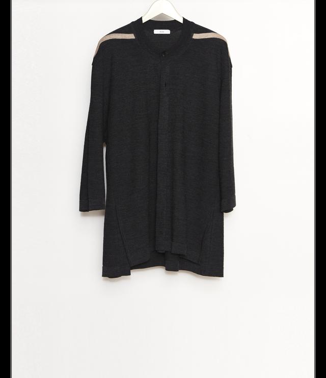 Open front Knit T-Shirt / Black