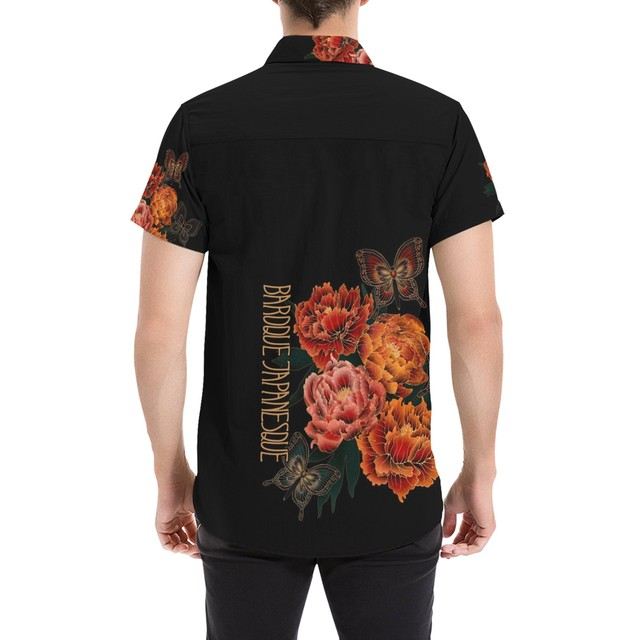 和柄芍薬牡丹 ユニセックス半袖シャツ