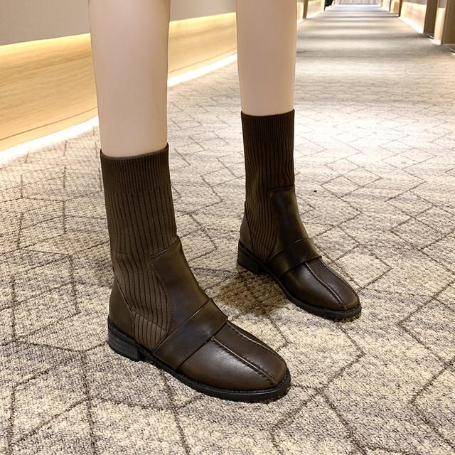 【シューズ】ファッション切り替えミドルヒールストレッチスクエアトゥショート丈ブーツ38474252