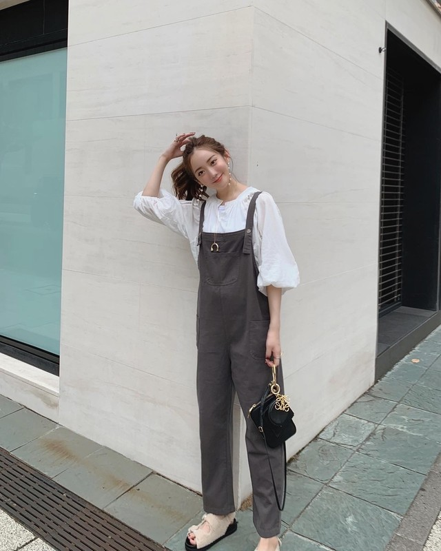 cotton chino overalls / charcoal (即納)