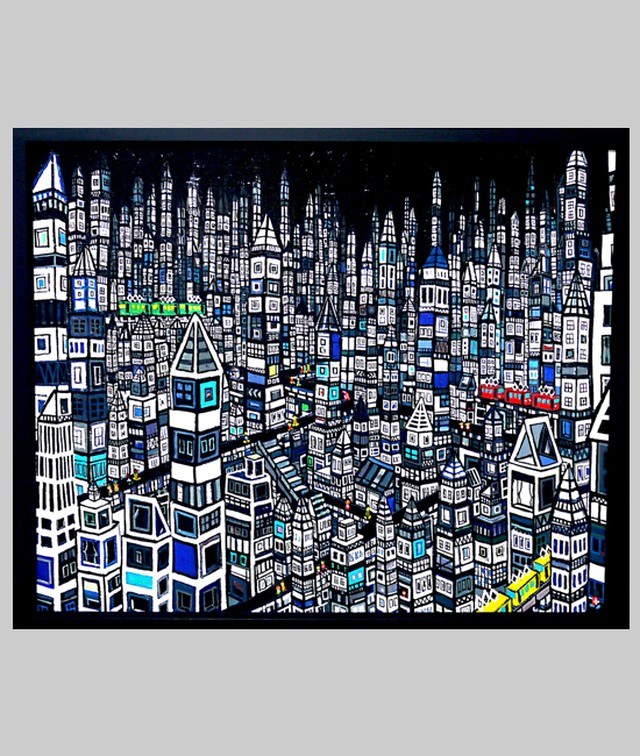 OIL COLOUR | まち | ブラック | CITY | Black | 油彩画