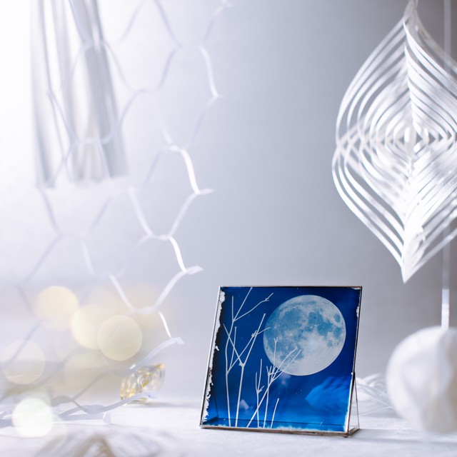 ガラス青写真(冬枯れの満月)