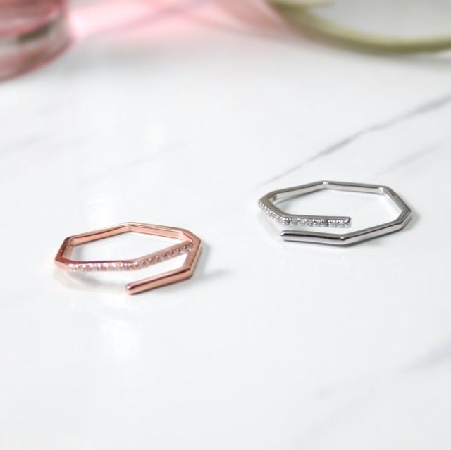 オクタゴンリング | 指輪 | 華奢 | シルバー925 | きらきら | レディース | 金属アレルギー