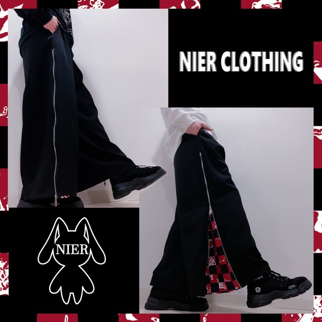 2WAY SIDE ZIP WIDE PANTS【赤格子柄】