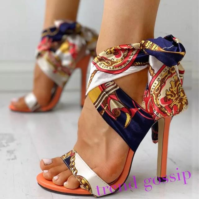 スカーフストラップハイヒールサンダル/靴/23〜25.5cm/2020SS