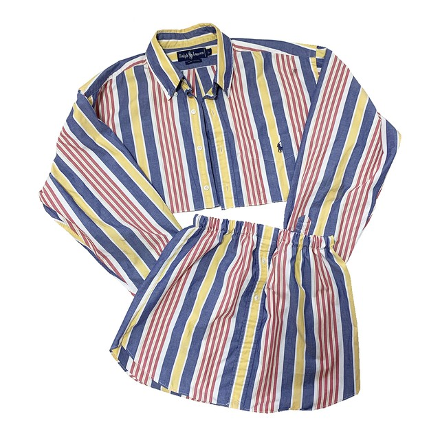 【Rework】Cropped Stripe Shirt
