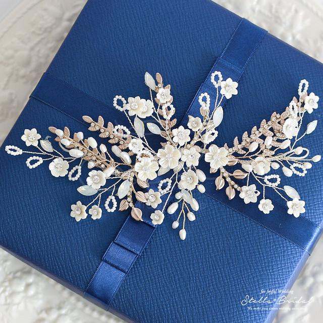 【スワロ使用】オーガニックパールとアンティークリーフの小枝ヘッドドレス フルール・ジャルダン