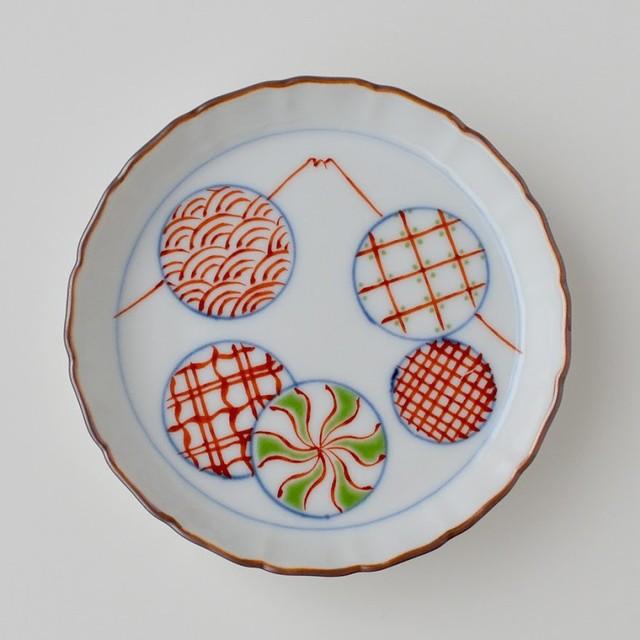 【おてしょ皿】色絵丸紋地紋富士山図 立渕小皿