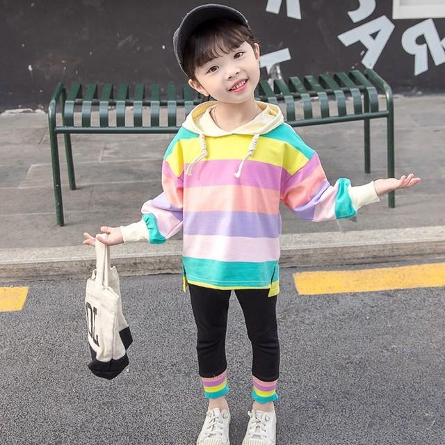 【セット】キュートアルファベットレインボー女の子配色長袖コットン2点セット25856431