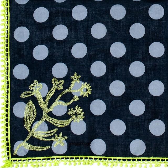 ひびのこづえ ハンカチ 水玉 / ブラック 当社別注品 レース付き 刺繍入り 48x48cm  KH10-01