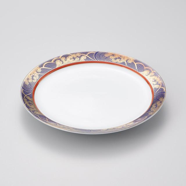 【華山窯】瑠璃色金波絵 洋皿[大] ※在庫限り