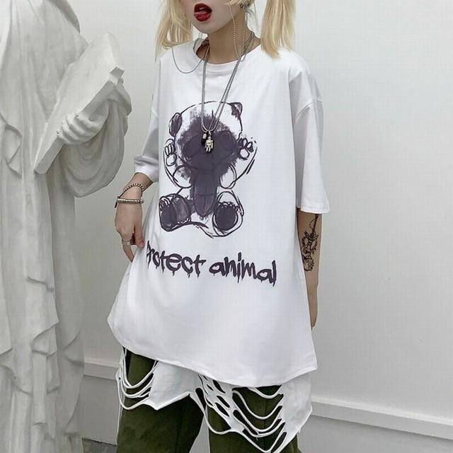レディース レターベアー Tシャツ 可愛いクマプリント ゆったり 半袖 インスタ映え 韓国ファッション オルチャン ホワイト ピンク / In loose letter bear printed T-shirt (DCT-597818166705_b)