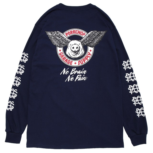 WING PORK L/S TEE/NAVY