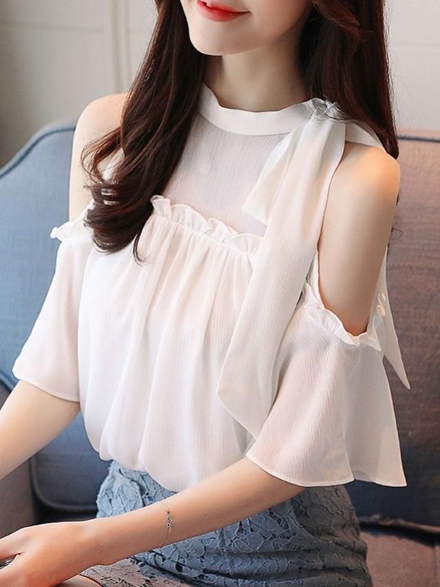 【tops】Fashion design off shoulder chiffon shirt