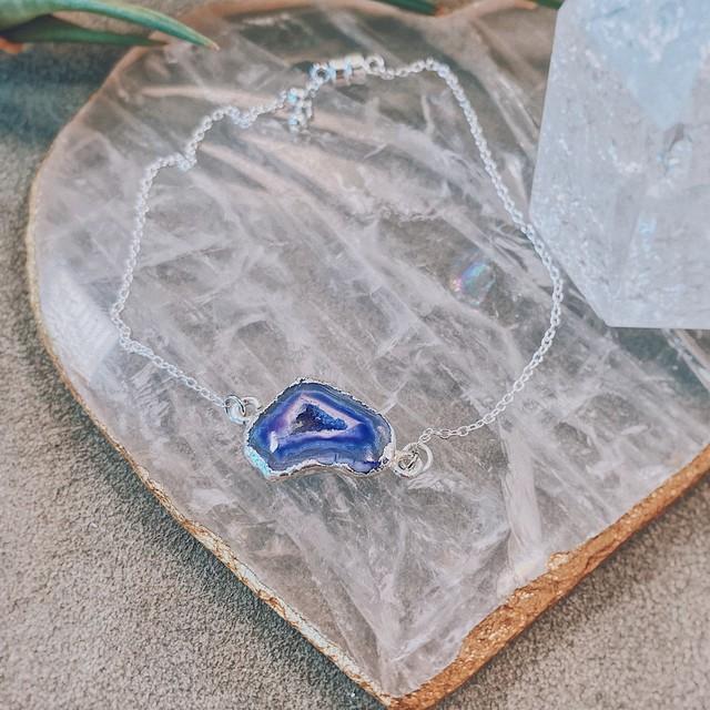 【限定】SVチェーンで作る天然石ブレスKIT(アゲートジオードSVパープル)