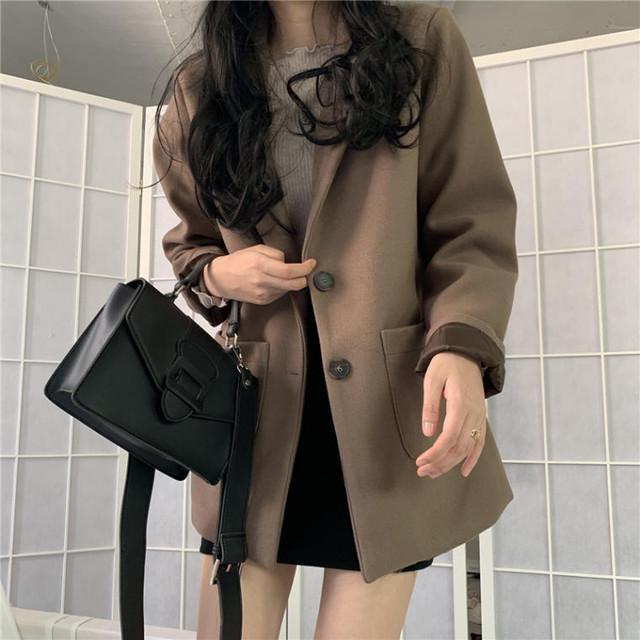【送料無料】 使いやすい♡ シンプル カジュアル ウール テーラード ジャケット アウター コート