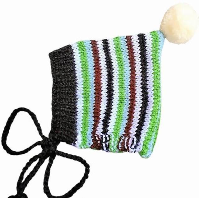 (予約オーダー:発送12月中旬)6か月~4歳 手編み ボンネット カラフルグリーン (whiteボンボン)