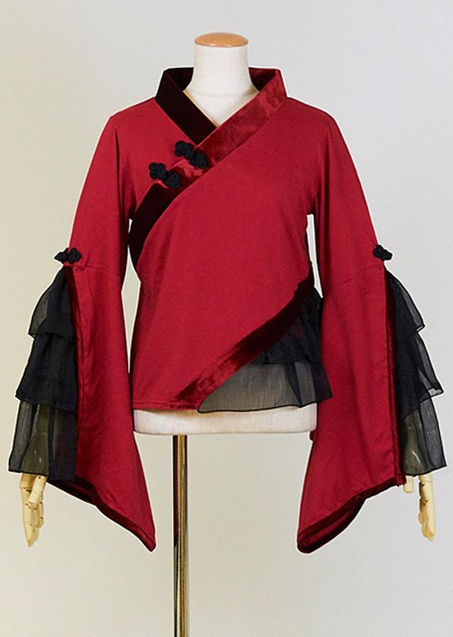 gouk雅 フリル着物袖のカットソー GGD28-T911 RD/M