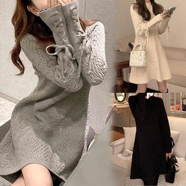 ニットワンピース 袖レースアップ 韓国ファッション レディース ワンピース  ニット 編み上げ ラウンドネック ハイウエスト 長袖 ゆったり 大人可愛い ガーリー / Fairy Skirt Slim Botoming Knit French Dress (DTC-626734936013)