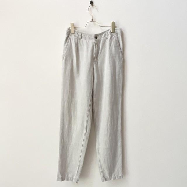 """レディース""""Liz wear""""90〜00年代 テーパードパンツ アメリカ 古着 リネン コットン ベージュ 日本L"""