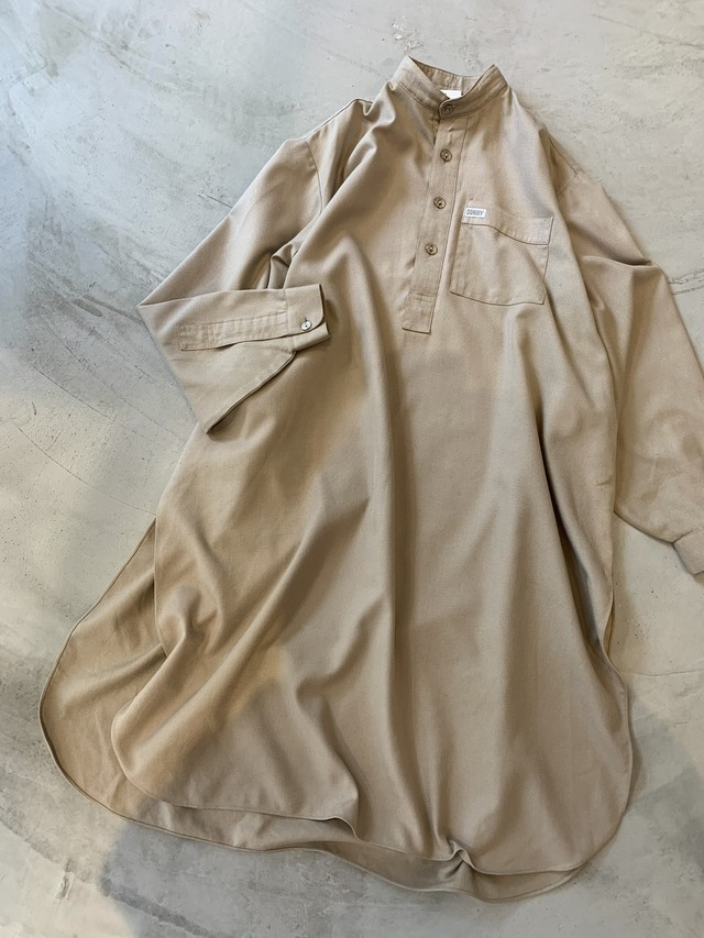 vintage stand collar shirt dress