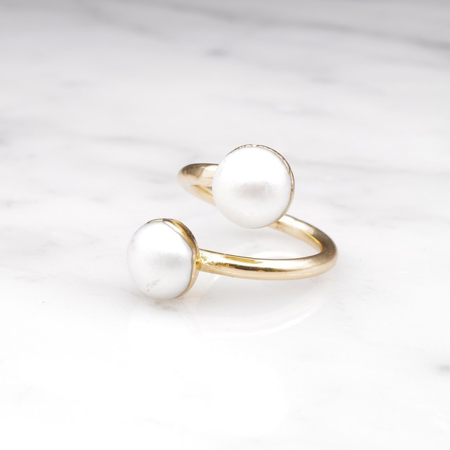 DOUBLE PEARL OPEN RING 04