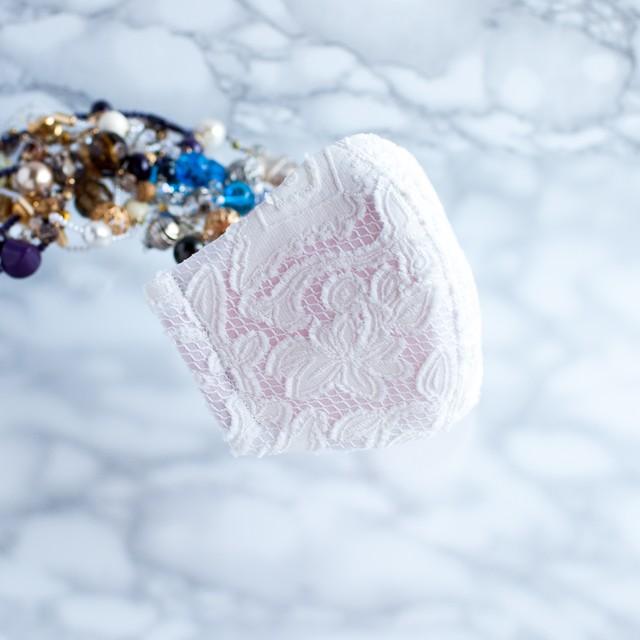 PSNY 送料無料 フルフィ・ソフト ホワイト2 ピンクベース 花粉 黄砂 不織布フィルター入り 透け感 美しい 美人 上品 きれい シルク 人気 ブライダル 結婚式 ドレス 立体 マスク -LF05