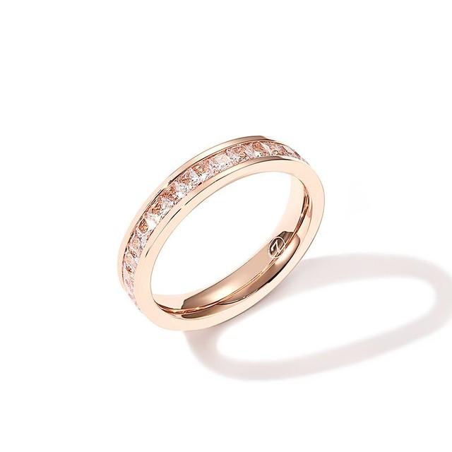 リング キラキラ 韓国アクセサリー 指輪 CZ ピンクゴールド ローズゴールド チタン ステンレス 金属アレルギー アクセサリー ジュエリー / Inn tide cold air simple temperament ring (DTC-564887933580)