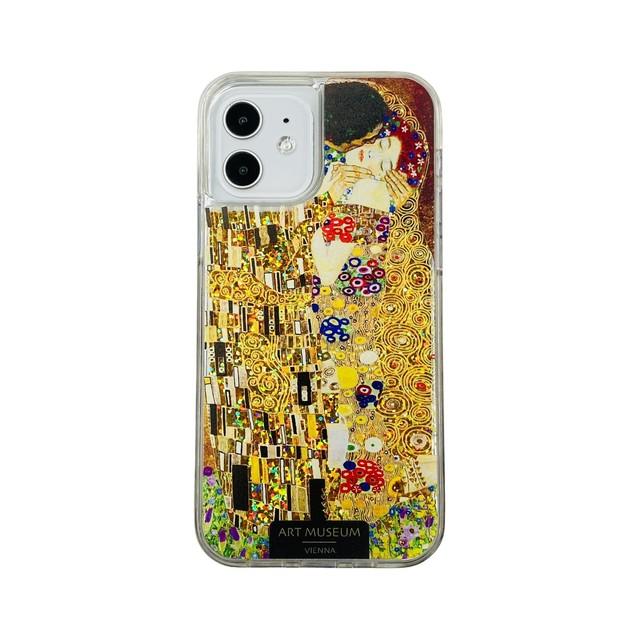 ARTiFY iPhone 12 / 12 Pro グリッターケース クリムト キス ゴールド AJ00623