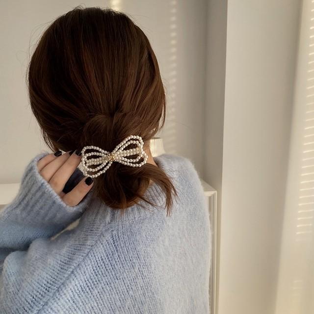ヘアアクセサリー ヘアクリップ ヘアピン 韓国 ヘアレンジ 簡単 まとめ髪  シンプル 大人 レディース 女性 大きめ パール リボン パールりぼんヘアピン
