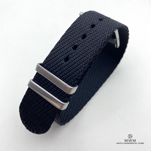 アジャスタブル シングルパス ストラップ ブラック 20mm 腕時計ベルト