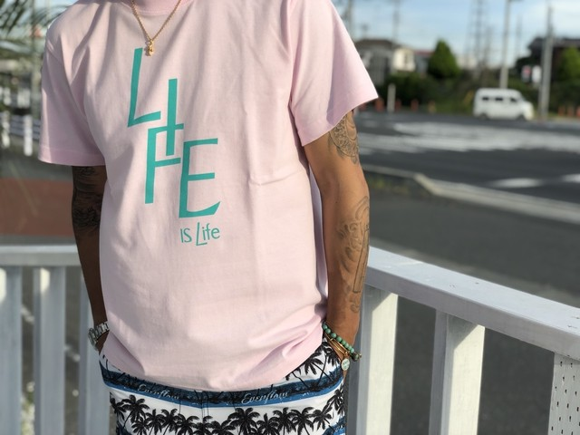 LIFEislife ロゴtシャツ (pink)¥2990+tax
