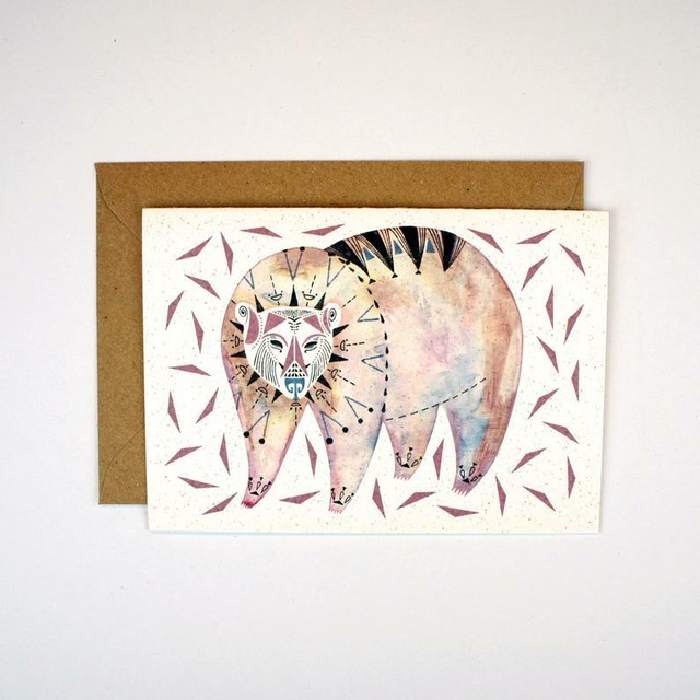 Greeting Card - Bear and Triangles