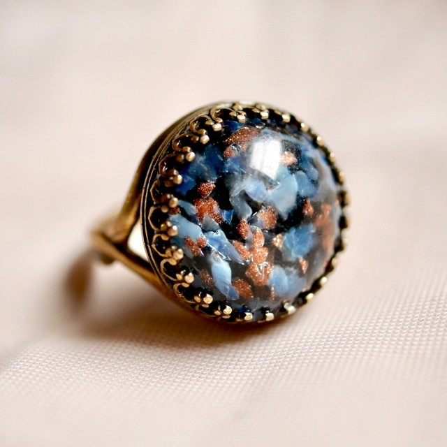 ブルーブラック ガラスリング(指輪)